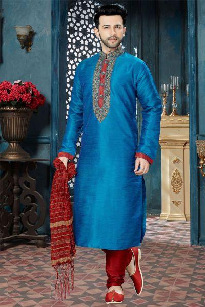 Blue Banglori Silk Regular Kurta Pajama (NMK-3815)