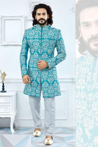 Blue Banglori Silk Sherwani (NMK-4112)