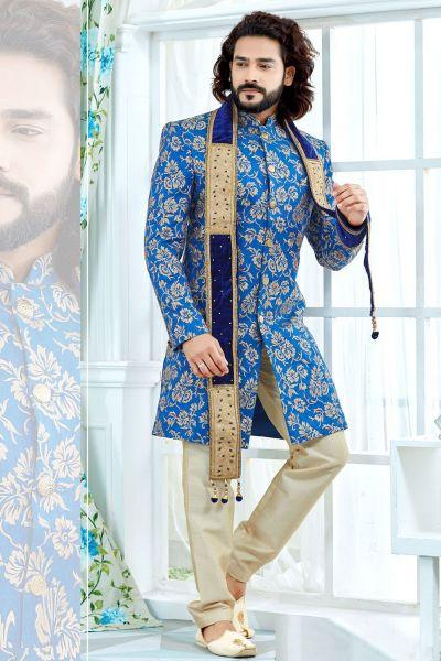 Blue Banglori Silk Sherwani (NMK-4132)