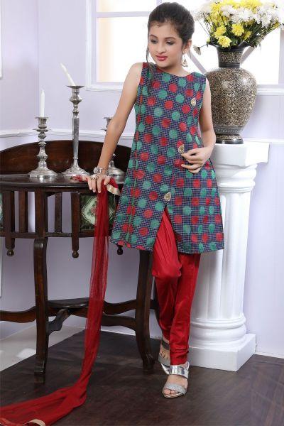 Blue Brocade Girls Salwar Suit (NFG-184)