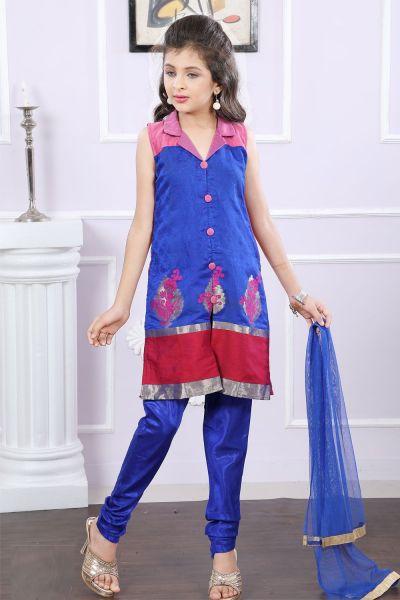 Blue Brocade Kids Salwar Suit (NFG-185)