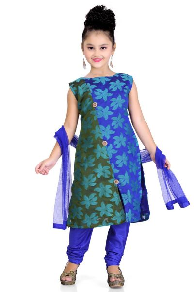 Blue Chanderi Girls Salwar Kameez (NFG-100)