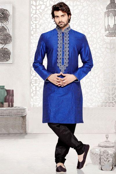 Blue Dupion Art Silk Casual Kurta Pajama (NMK-3034)