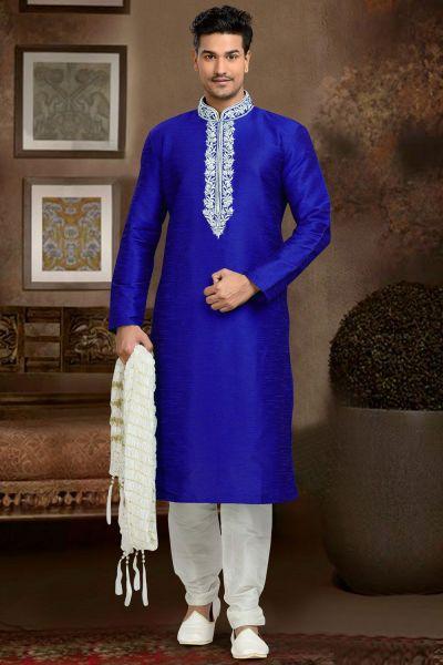 Blue Dupion Art Silk Casual Kurta Pajama (NMK-3074)