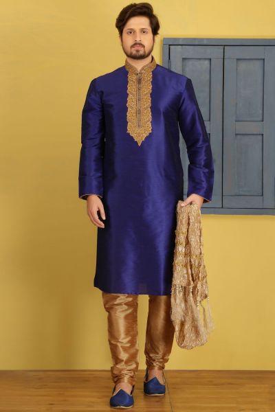 Blue Dupion Art Silk Casual Kurta Pajama (NMK-3692)