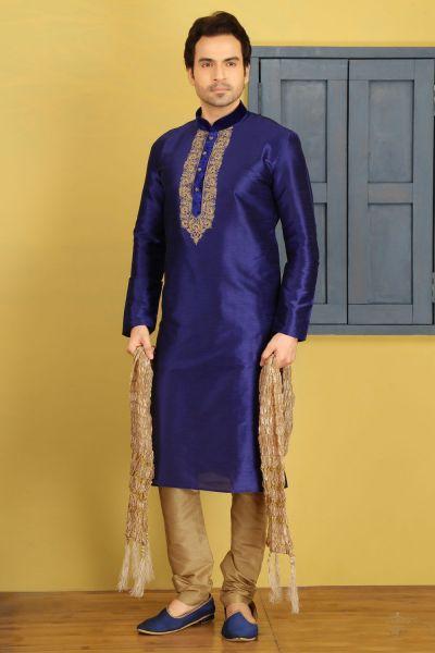 Blue Dupion Art Silk Casual Kurtas for Men (NMK-3702)