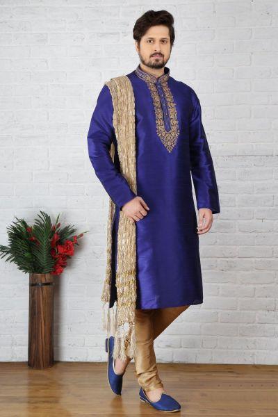 Blue Dupion Art Silk Casual Mens Kurta (NMK-3705)