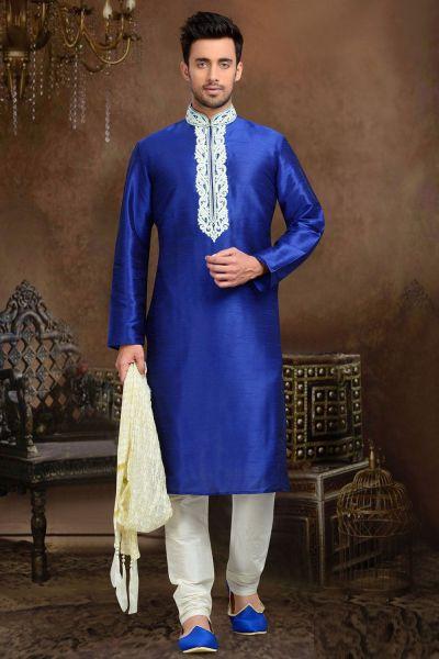 Blue Dupion Art Silk Designer Kurta Pajama (NMK-3059)