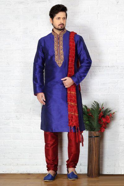 Blue Dupion Art Silk Kurta Pajama for Men (NMK-3715)