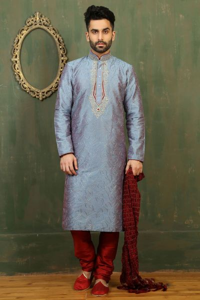 Blue Dupion Art Silk Kurta Pajama (NMK-3337)