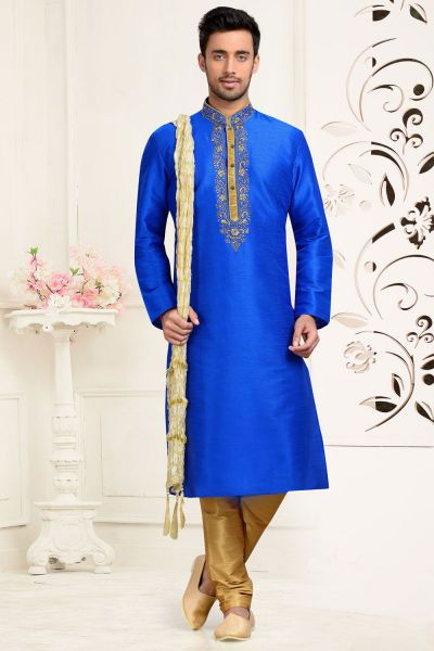 Blue Dupion Art Silk Kurtas for Men (NMK-3062)