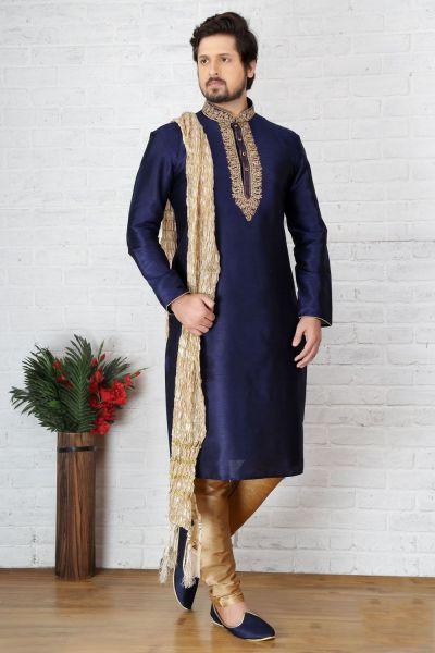 Blue Dupion Art Silk Kurtas for Men (NMK-3707)