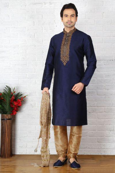 Blue Dupion Art Silk Mens Casual Kurta Pajama (NMK-3703)