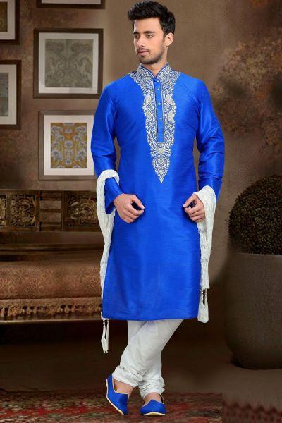 Blue Dupion Art Silk Men's Kurta (NMK-3064)
