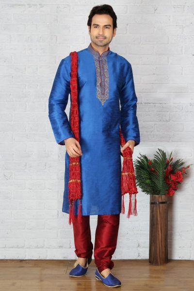Blue Dupion Art Silk Mens Kurta Pajama (NMK-3712)