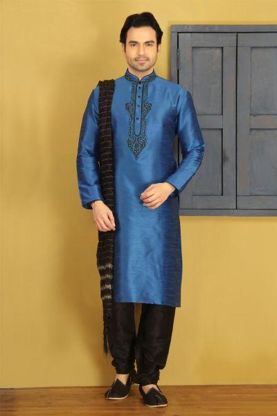 Blue Dupion Art Silk Mens Regular Kurta Pajama (NMK-3737)