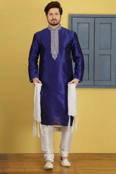 Blue Dupion Art Silk Regular Kurta for Men (NMK-3747)