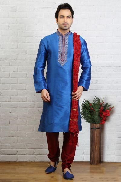 Blue Dupion Art Silk Regular Kurta Pajama (NMK-3721)