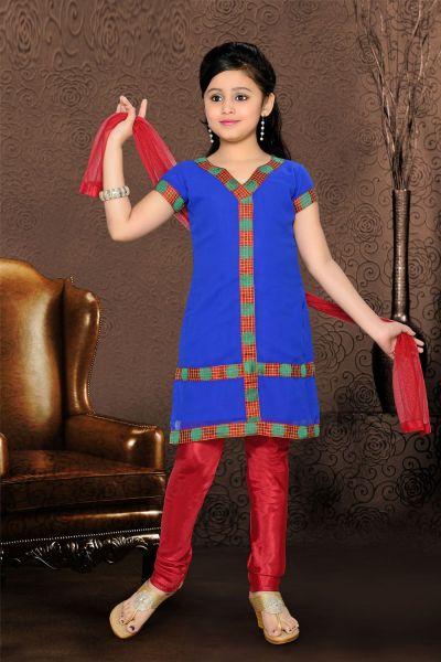 Blue Georgette Girls Salwar Kameez (NFG-067)