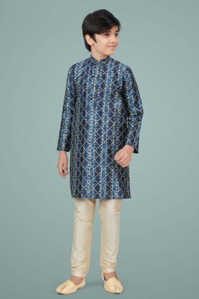 Blue Giccha Silk Boys Kurta Pajama (NKK-683)