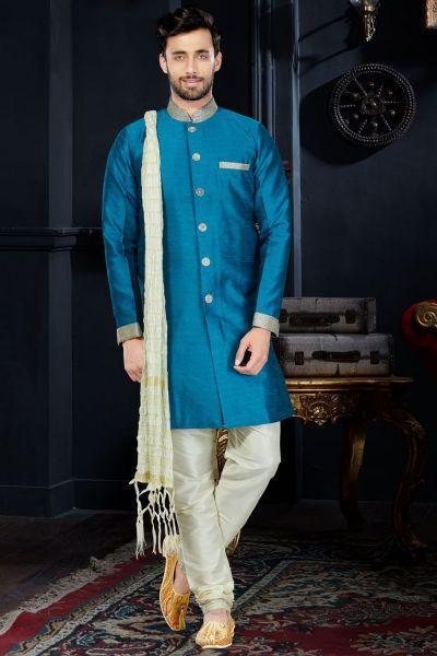 Blue Giccha Silk Indo Western (NMK-3424)