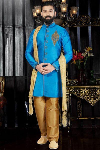 Blue Giccha Silk Indo Western(NMK-3362)