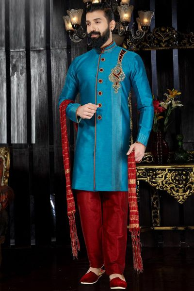 Blue Giccha Silk Indo Western(NMK-3365)