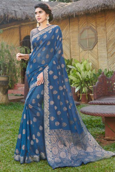 Blue Handloom Silk Saree (NWSA-4979)