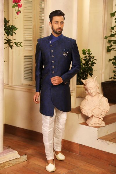 Blue Imported Jaquard Indo Western (NMK-4221)