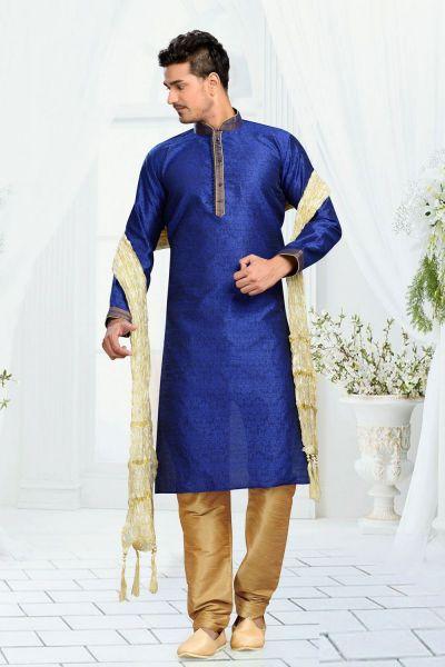 Blue Jaquard Art Silk Men's Kurta Pajama (NMK-3122)