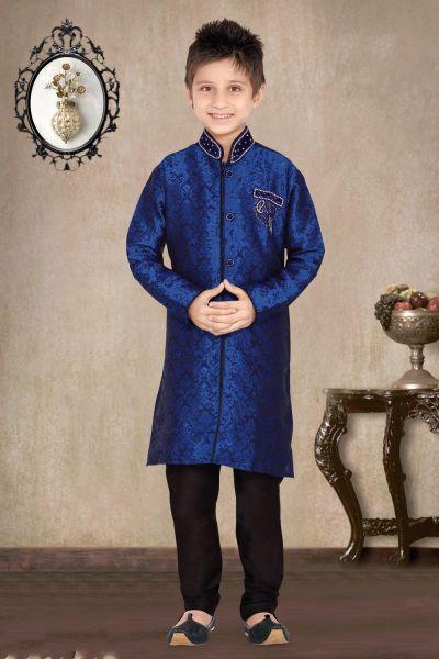 Blue Jaquard Kids Sherwani (NKK-474)