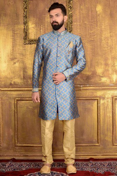 Blue Jaquard Silk Brocade Indian Indo western (NMK-3588)