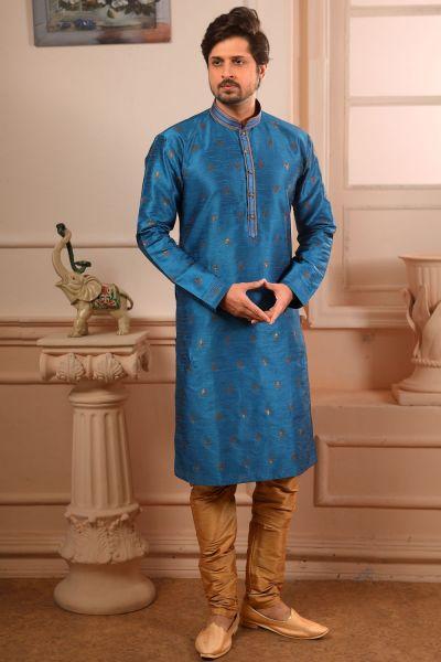 Blue Jaquard Silk Brocade Kurta Pajama (NMK-4497)