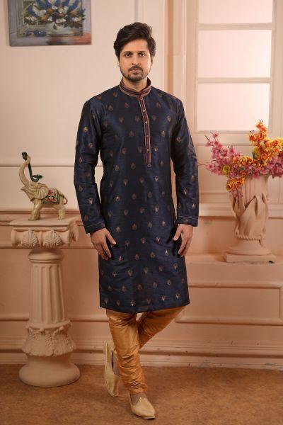 Blue Jaquard Silk Brocade Kurta Pajama (NMK-4499)