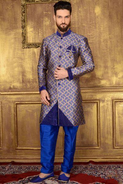 Blue Jaquard Silk Brocade Mens Indo western (NMK-3579)