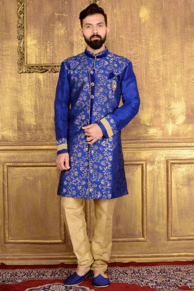 Blue Jaquard Silk Indo western (NMK-3586)