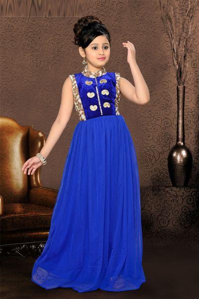 Blue Net Girls Gown (NFG-087)