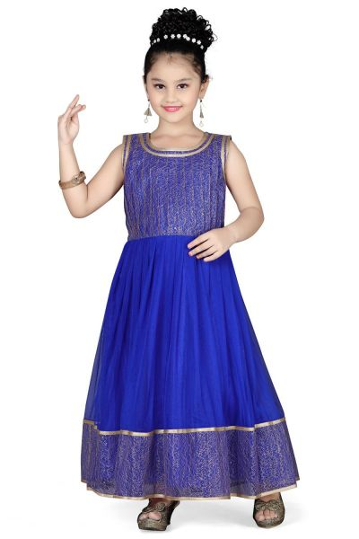 Blue Net Girls Gown (NFG-118)