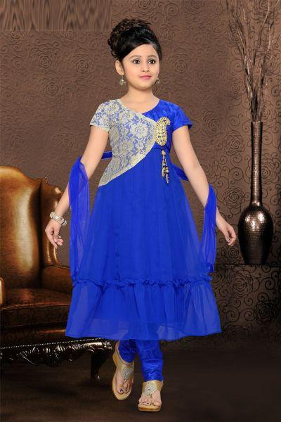 Blue Net Girls Salwar Kameez (NFG-083)