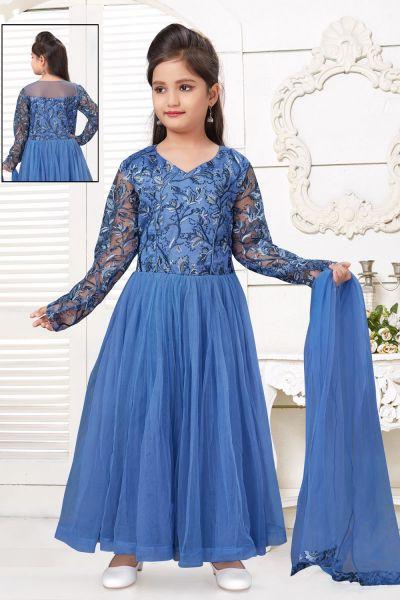 Blue Net Girls Salwar Kameez (NFG-220)