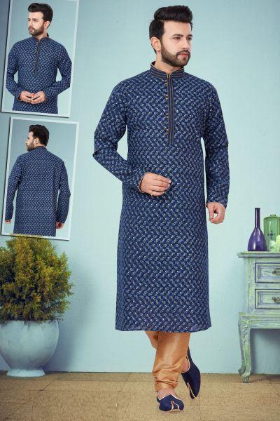 Blue Printed Cotton Silk Kurta Pajama (NMK-4848)