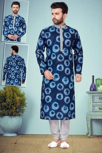 Blue Printed Cotton Silk Kurta Pajama (NMK-4856)