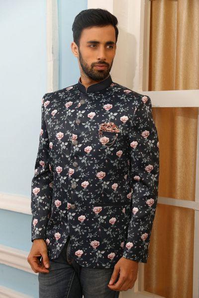 Blue Printed Silk Brocade Jodhpuri Jacket (NMK-4233)