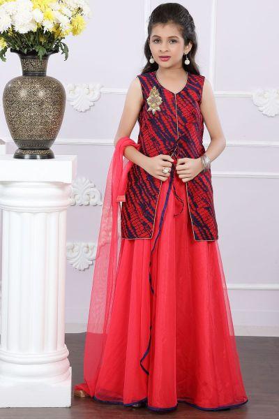 Blue, Red Art Silk Girls Lehenga Choli (NFG-165)
