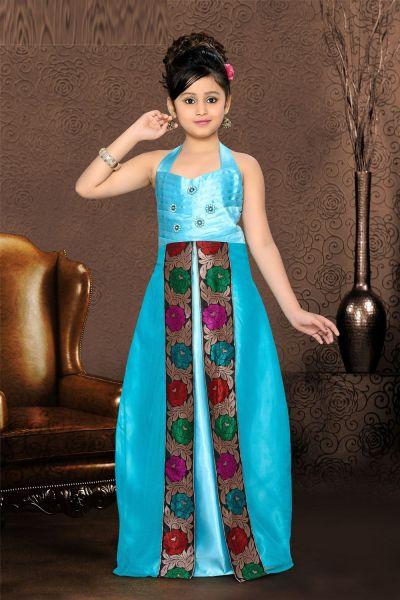 Blue Satin Girls Gown (NFG-090)