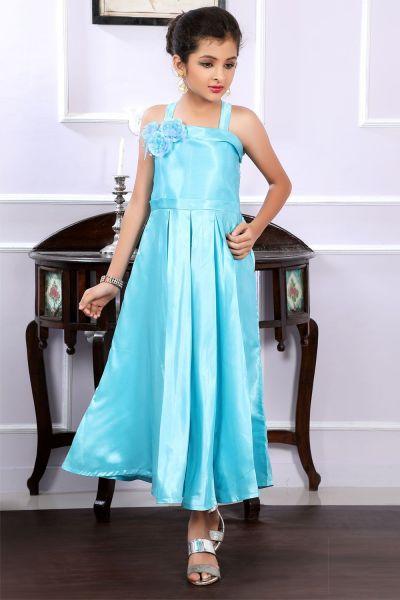 Blue Satin Girls Gown (NFG-192)