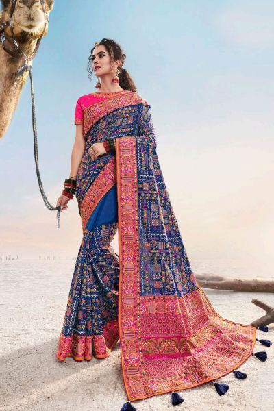 Blue Shana Silk Saree (NWSA-5043)