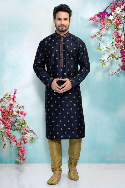 Blue Silk Brocade Kurta Pajama for Men (NMK-4904)