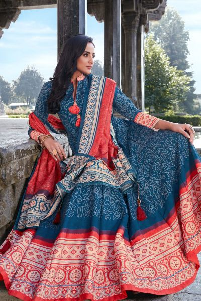Blue Silk Salwar Kameez (NWS-6023)