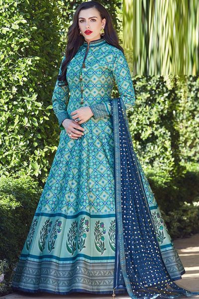 Blue Silk Salwar Suit (NWS-4823)